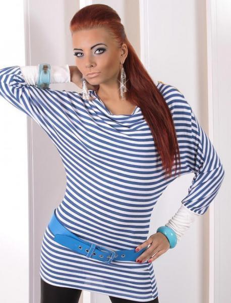 Фото Женские туники Туника с молнией 48р бело-синяя