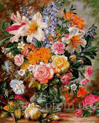 Фото Картины на холсте по номерам, Букеты, Цветы, Натюрморты VP 1056