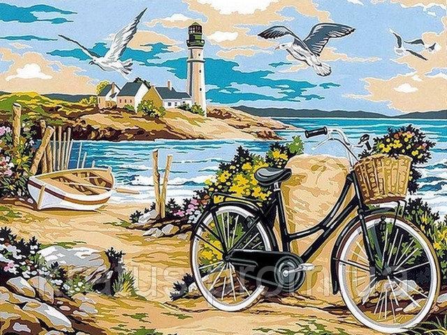 Фото Картины на холсте по номерам, Морской пейзаж VK 052 Прогулка по пляжу Роспись по номерам на холсте 40x30см