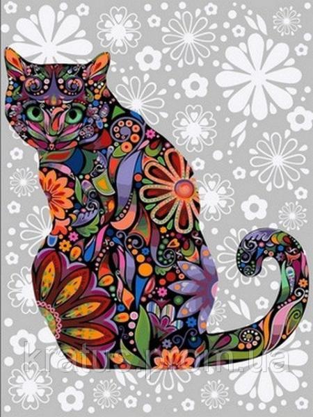Фото Картины на холсте по номерам, Животные. Птицы. Рыбы... VK 169 Цветочный кот Роспись по номерам на холсте 40x30см
