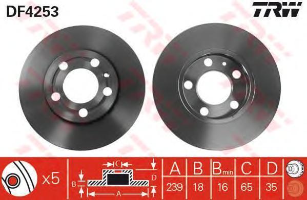Диск тормозной SKODA ROOMSTER, VW POLO передн., вент. (пр-во TRW DF4253) 673548