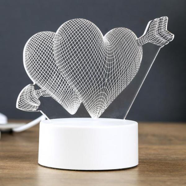 "Светильник ""Сердца"" LED RGB от сети 9,5х18х17 см"