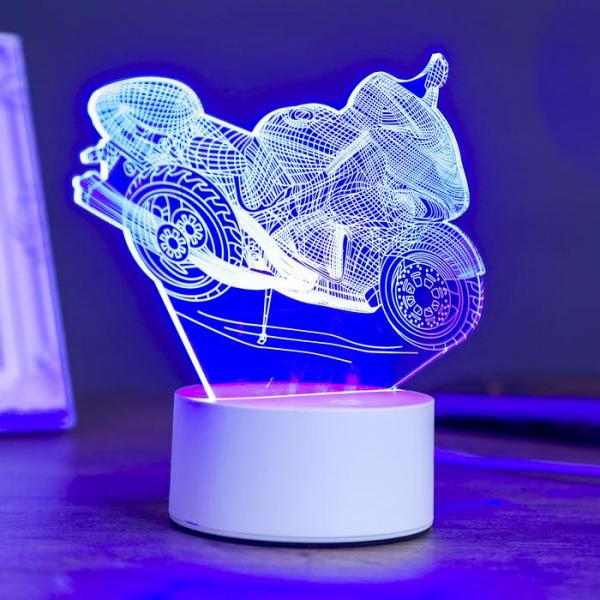 Светильник «Гоночный мотоцикл», LED, RGB, от сети, 10 × 14,4 × 16 см