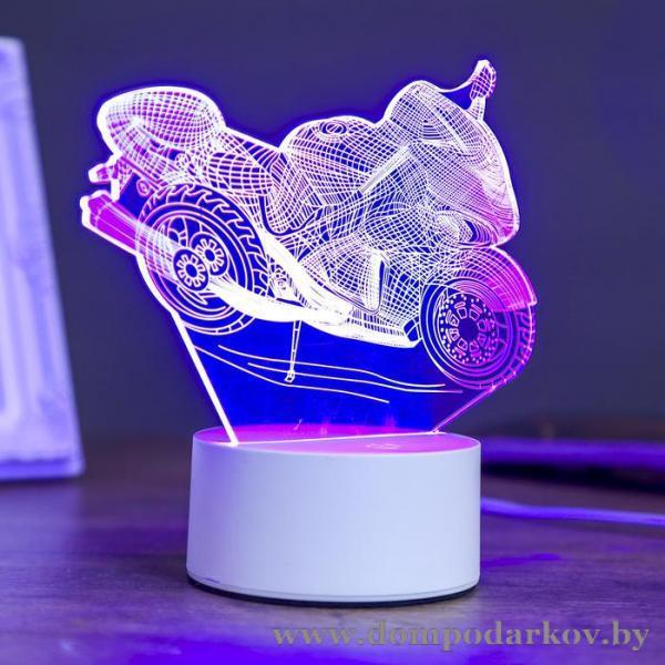 Фото Подарки детям, Интересные подарки детям  Светильник «Гоночный мотоцикл», LED, RGB, от сети, 10 × 14,4 × 16 см