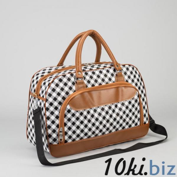 Сумка дорожная, отдел на молнии, наружный карман, длинный ремень, цвет коричневый/белый купить в Гродно - Дорожные сумки и чемоданы