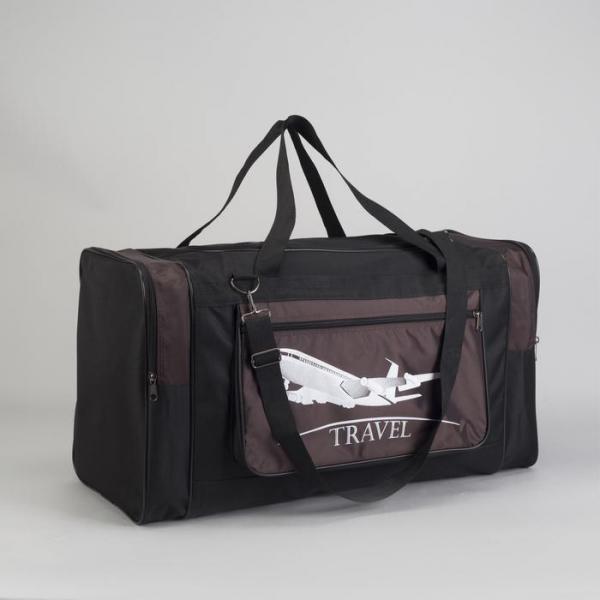 Сумка дорожная, отдел на молнии, 3 наружных кармана, длинный ремень, цвет коричневый