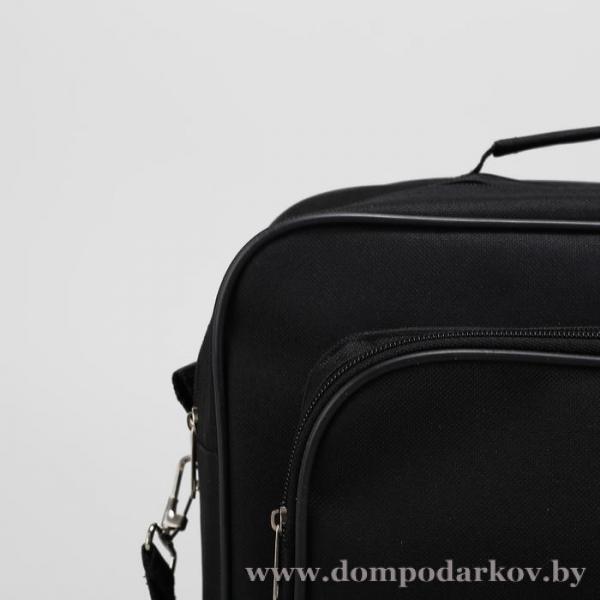 Фото ПОСМОТРЕТЬ ВЕСЬ КАТАЛОГ, Галантерея, Сумки мужские  Сумка мужская, 2 отдела на молниях, наружный карман, длинный ремень, цвет чёрный