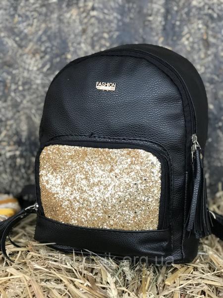 Женский рюкзак R-118-1, черный с золотым блеском