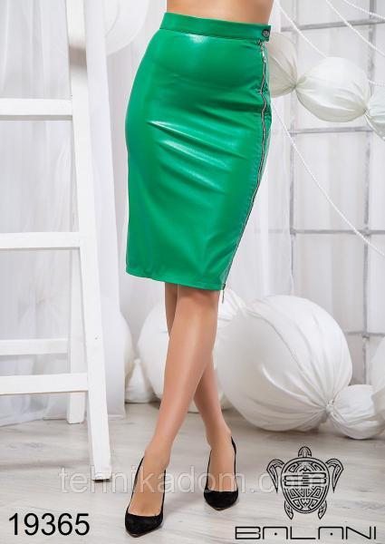 Стильная юбка из эко кожи - 19365