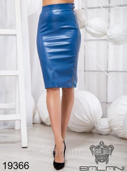 Стильная юбка из эко кожи - 19366