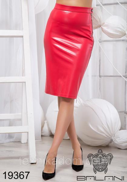 Стильная юбка из эко кожи - 19367