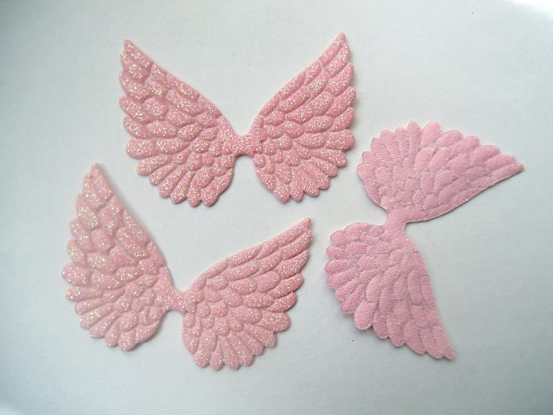 Крылья глитерные , розовые  58 х 45 мм