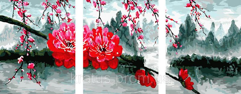 Фото Картины на холсте по номерам, Триптих, диптих PX5127 ТРИПТИХ Цветущая ветвь Роспись по номерам на холсте 120х50см