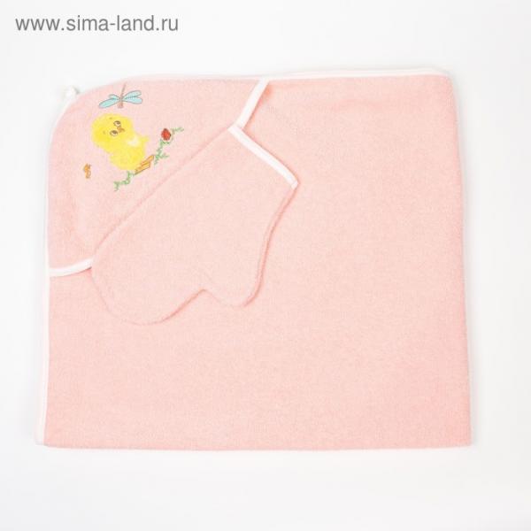 Набор для купания (полотенце-уголок, рукавица), размер 100х110 см, цвет персиковый (арт. К24)
