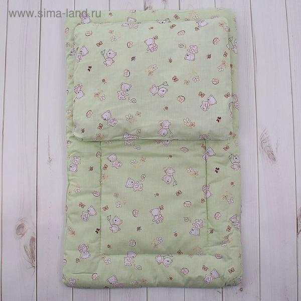 Комплект в коляску (матрасик 70*40 см, подушка 30*40 см), цвет МИКС К20 300г/м