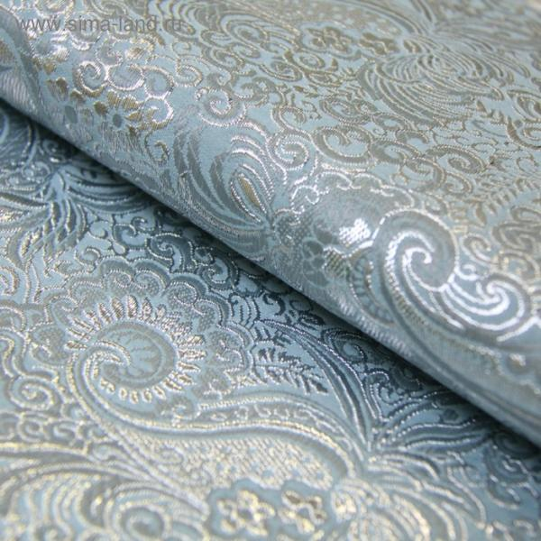 Ткань костюмная, парча жаккард, ширина 140 см, голубой