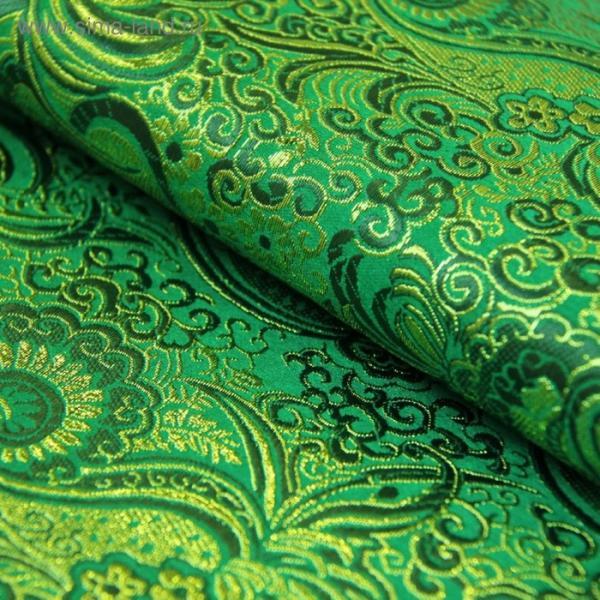 Ткань костюмная, парча жаккард, ширина 140 см, зелёный