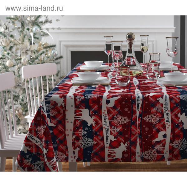 Скатерть с пропиткой «Рождество в узоре», 140х220 см, оксфорд, 240 г/м2, 100% полиэстер