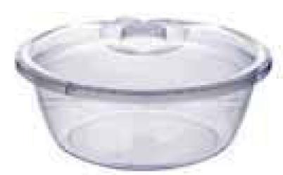 Прозрачный  таз с крышкой, 2,7 л (240*115 мм) 94018