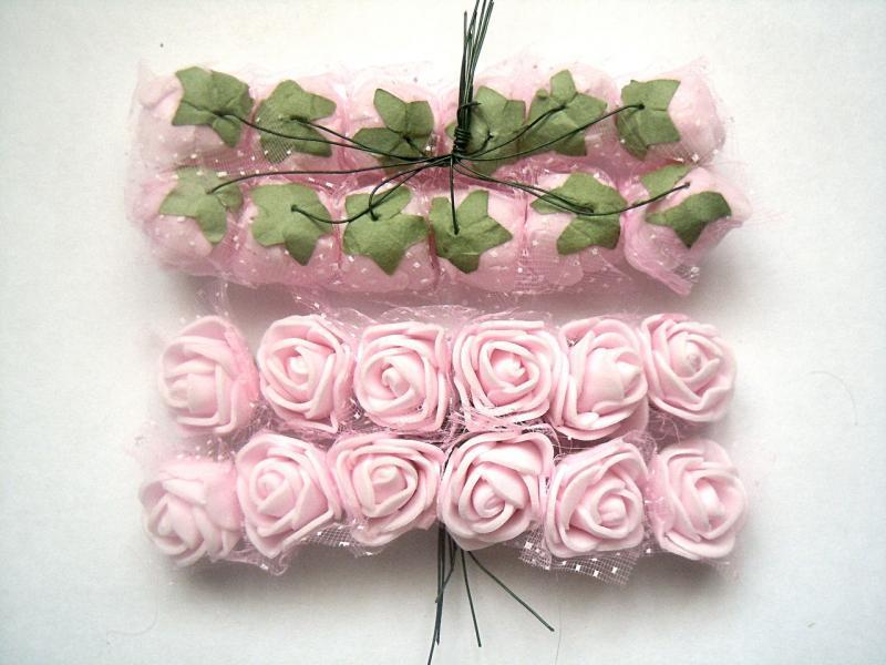 Фото Цветы искусственные, Роза латексная 2.5 см Роза  латексная  2 - 2,2 см ,   Светло - Розовая  с  фатином.   Упаковка  12  цветочков .