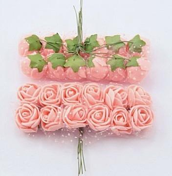 Фото Цветы искусственные, Роза латексная 2.5 см Роза  латексная  2 -  2,2 см ,  Персиковая  с  фатином .  Упаковка  12  цветочков .
