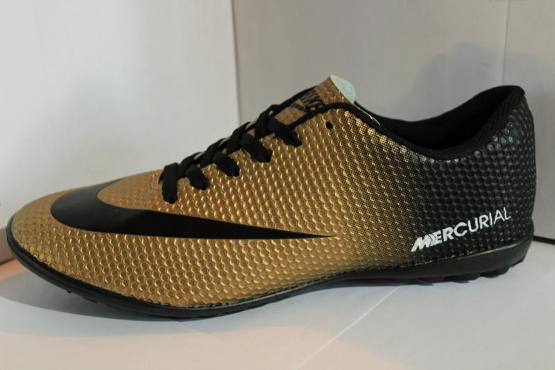 Футбольные кроссовки(копы) Nike Mercurial сороконожки на шнурке для игры в футбол на шнуровке золотые Золотой, 42