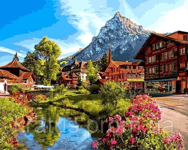 Фото Картины на холсте по номерам, Пейзаж VP1147 Альпийский городок Картина по номерам на холсте 40х50см