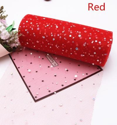 Фото Фатин и регилин Фатин  ширина  15 см.   Красного  цвета  с  круглыми   блёсточками .
