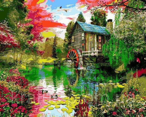 Фото Картины на холсте по номерам, Загородный дом VP1159 Летние краски Картина по номерам на холсте 40х50см