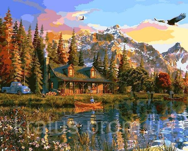 Фото Картины на холсте по номерам, Загородный дом VP1160 Закат над озером Картина по номерам на холсте 40х50см