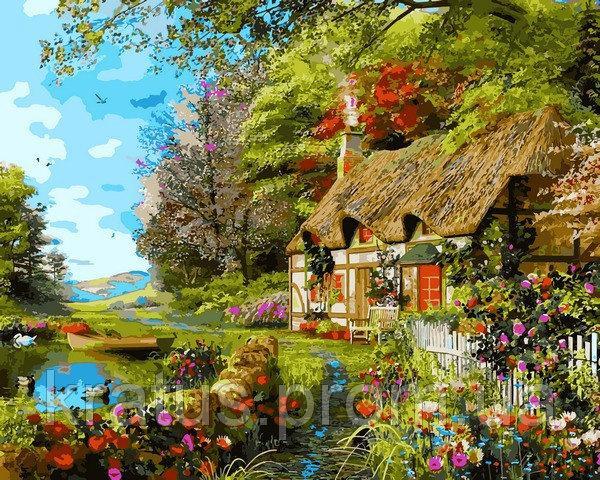 Фото Картины на холсте по номерам, Загородный дом VP1161 Домик на берегу озера Картина по номерам на холсте 40х50см
