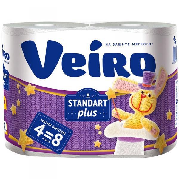 Бумага туалетная Veiro Standart Plus, 30 м, 4 шт/уп