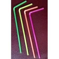 Трубочка пластиковая в индивидуальном пакете с изгибом разных цветов L 210 мм (уп 50 шт) 0234