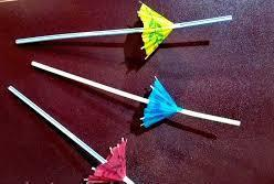 Трубочка пластиковая полосатая с изгибом и зонтиком разных цветов L 240 мм (уп 50 шт) 0270
