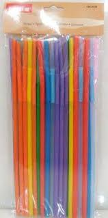 Трубочка пластиковая с изгибом разных цветов L 260 мм (уп 50 шт) 0239