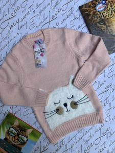 Фото НОВИНКИ Стильный свитер с котиком 4-8 лет