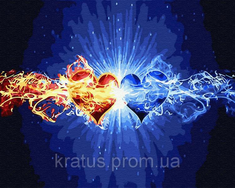 GX 30107 Влюблённые сердца Роспись по номерам на холсте 40х50см без коробки, в пакете