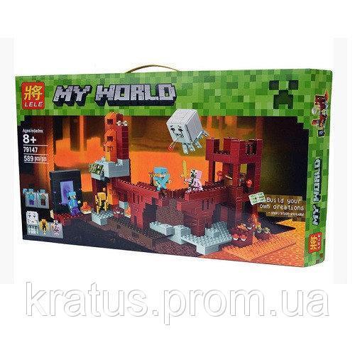 79147 Конструктор Lele My World (LEGO Minecraft 21122) Подземная крепость 589 деталей