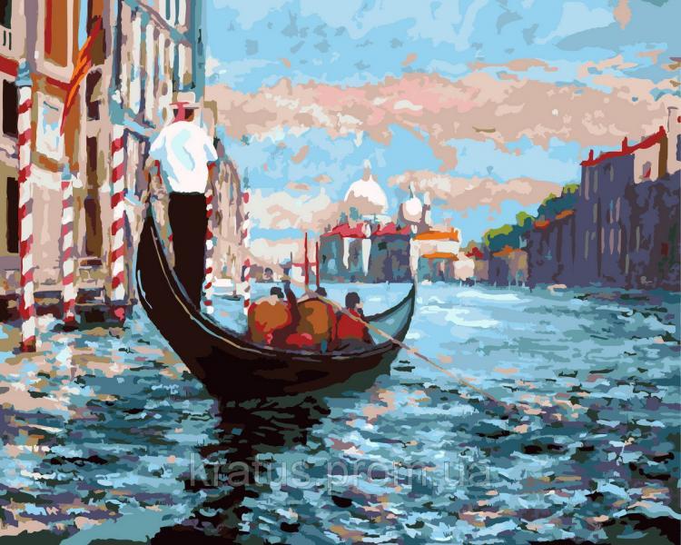 Фото Картины на холсте по номерам, Картины  в пакете (без коробки) 50х40см; 40х40см; 40х30см, Пейзаж, морской пейзаж. GX 9107 Венецианская гондола Картина по номерам  40х50см без коробки, в пакете