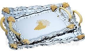 Поднос оцинкованный прямоугольный с ручками золотого цвета виноград (набор 3 шт) 9566