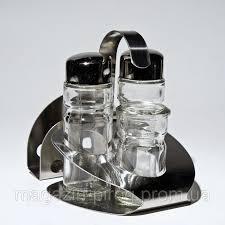 Спецовницы { соль+перец+салф+зуб } на нержавющей подставке (набор 5 пр ) 0109