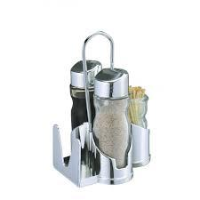 Спецовницы { соль+перец+салф+зуб } на пластиковой подставке (набор 5 пр) 0107
