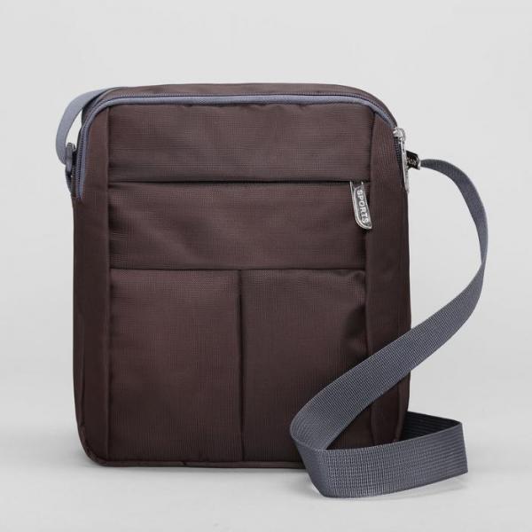 Планшет мужской, 2 отдела, 2 наружных кармана, регулируемый ремень, цвет коричневый