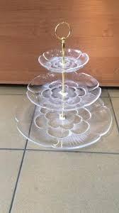 Конфетница{фруктовница} трёхъярусная акриловая круглая с золотыми креплениями (шт) 1302