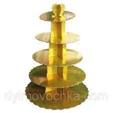 Стенд пятиярусный картонный круглый для капкейков золотого цвета с голограммой (шт) 0323