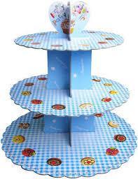 Стенд трёхъярусный картонный круглый для капкейков голубого цвета (шт) 0319