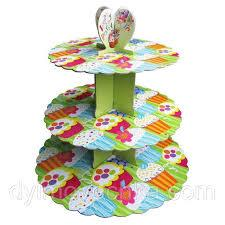 Стенд трёхъярусный картонный круглый для капкейков зелёного цвета (шт) 0309