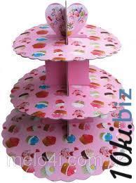 Стенд трёхъярусный картонный круглый для капкейков кораллового цвета (шт) 0314 купить в Херсоне - Книги
