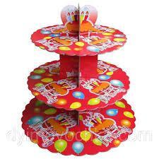 Стенд трёхъярусный картонный круглый для капкейков красного цвета (шт) 0312