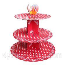 Стенд трёхъярусный картонный круглый для капкейков красного цвета с горошком (шт) 0320